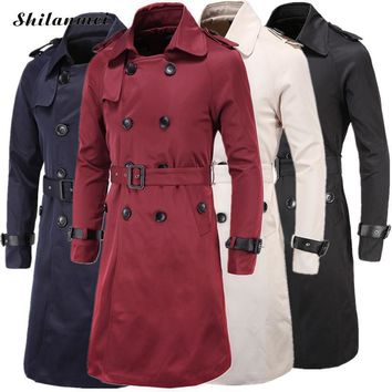 Men Trench Coat Classic Double Breasted Trench Coat Masculino Male Winter Clothing Long Jackets Coats British Style Overcoat