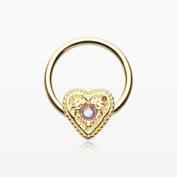 Golden Opalescent Sparkle Heart Captive Bead Ring