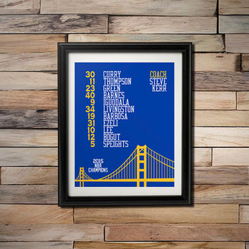 2015 NBA Champions -  Golden State Warriors Playoff Roster with Golden Gate Bridge 16X20 Poster