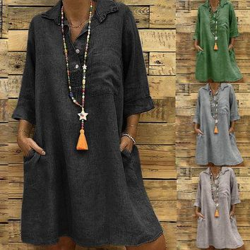 Women's Solid Boho Turn-down Collar Dress 3/4 Sleeve Casual Pocket Button Dress