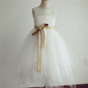 New Real Flower Girl Dresses with Sashes Little Girls Kids/Children Dress Keyhole Ball Party Pageant Communion Dress for Wedding