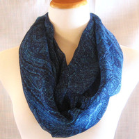 Paisley Blue Infinity Scarf Beautiful Tube Circle Eternity 100% Silk Chiffon