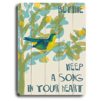 Personalized Song In Your Heart Wood Sign by Artist Lisa Weedn