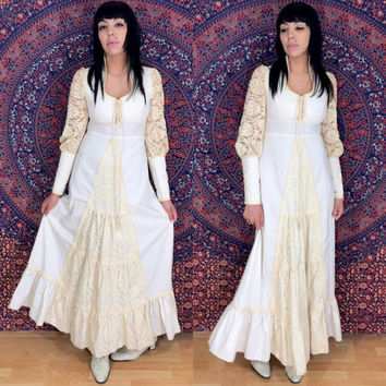 Vintage 70s Gunne Sax By Jessica Corset Style Victorian Prairie/Bohemian Wedding/Maxi Lace Poet Sleeves Dress S9  M // MS