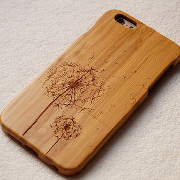 Wood iPhone 6 case, Dandelion case, for iphone 6plus, iphone 5 case ,iphone 4, iphone 5c case, wood case,wooden iphone case,gift