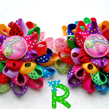 Shopkins hair bows , set of layered bows , loopy flower  pair of bows , Shoes Bows