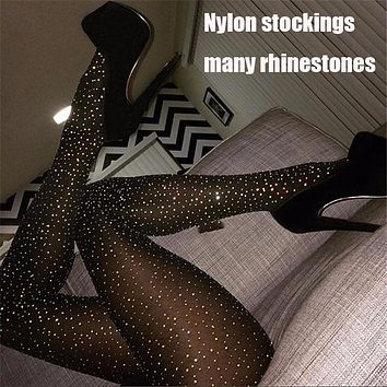 Women Tights With Crystals Bling Women Stocking Rhinestones Nylon Sheer Pantyhose Party Hosiery Sexy Shiny Medias De Mujer SW137