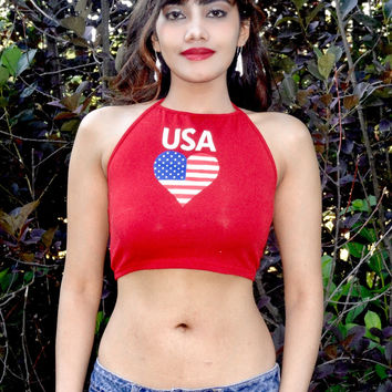USA Heart Red Halter Crop Top