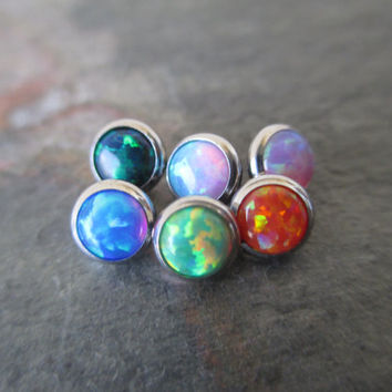 Blue Green Fire Opal 5mm Dermal Head Piercing 5mm Stone Piercing Body Jewelry