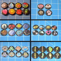 Set of All Pokemon League Gym Badges (6 leagues, 44 badges)