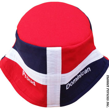 Dominican Republic XL Flag Bucket Hat | Proud Dominican Embroidered Hat | Dominican Flag | Dominican Hat | Red White Blue Hat by Hamlet P.