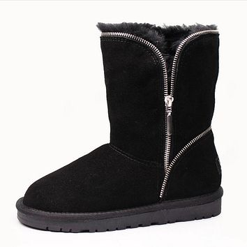 UGG Autumn Winter Women Wool Warm Zipper Anti-Skid Boot Snow Boot Cotton Shoe Black