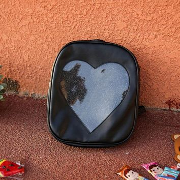 School Backpack KIDONWAY Ita Bag Candy Pu Leather Backpacks for WomenTransparent Love Heart Shape School Bags  for Girls AT_48_3