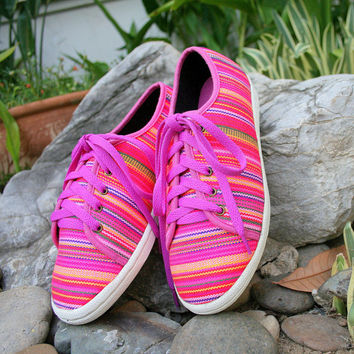 Funky Womens Sneaker Shoe In Colorful Woven Hmong Vegan Trainers - Jamie