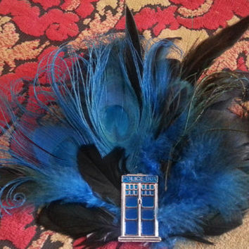 Tardis, Doctor who inspired, Blue, Blue fascinator, scifi,Steampunk, Cosplay,Police Box
