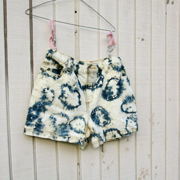 size 10 - upcycled bleached tie dye denim shorts - Funky Eco Denim Shorts / Summer Concert / Band / Rock and Roll