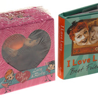 Lot of 2 I Love Lucy Best Friends Mini Book & Lucy & Ricky Figurines Edwards