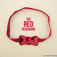 The RED Headband EXCLUSIVE sequin bow headband in red inspired by Taylor Swift and ban.do one size fits all
