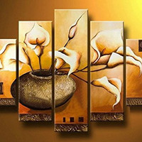 Ode-Rin Hand Painted Oil Paintings Gift Flower Bloom in Pots 5 Panels Wood Inside Framed Hanging Wall Decoration - (14x20Inchx2, 10x28Inchx2, 10x32Inchx1)