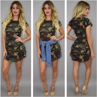 Sheath Short Sleeves Irregular Bodycon Camouflage Club Dress