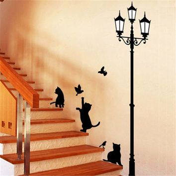 Large size Lamp Cats Kitty Kitten Fashion Vinyl Mural Decal Wall Sticker poster for kids rooms Glass Window Living Room Home