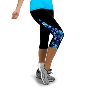 Fitness Tights Women Three Quarter Length Pants Gym Sports Yoga Leggings Running Pants Compression Workout New