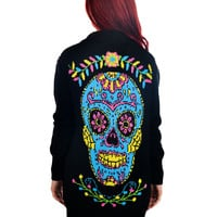 Rockabilly Beauty Flower Sugar Skull & Birds Embroidered Lounge Long Cardigan
