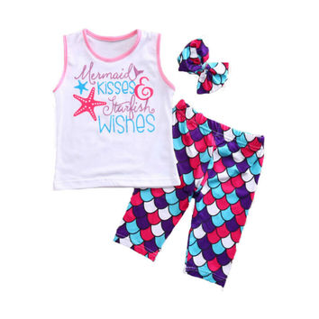 1-6Y Toddler Kids Baby Girls Letter Cotton Sleeveless Vest Tank Tops + Mermaid Shorts Pants Headband 3PCS Set Outfits Sunsuit