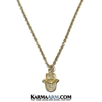 Necklace   HAPPINESS   Hamsa Hand   Evil Eye   Delicate Chain Necklace