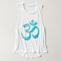 Turquoise Watercolor Om Tank Top