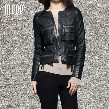 Black red genuine leather jackets women sheepskin lamb motorcycle jacket coat patch pockets decor jaqueta de couro LT1303