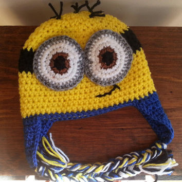 Crochet Minion Inspired  Hat- Earflap Hat Newborn-Adult