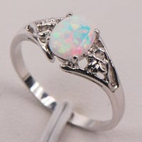 White Fire Opal 925 Sterling Silver Fashion Jewelry Ring Size 5 6 7 8 9 10 11 = 1932613060
