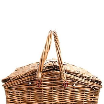 Fashion Woven Straw Picnic Set with 4 People Food Utensils