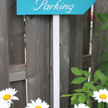 Custom Wedding Directional Sign, Turquoise Bue, Parking, Ceremony, Reception, 1 Sign with stake