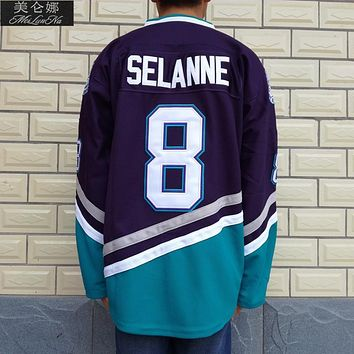 Original Mighty Ducks Movie Jerseys #8 Teemu Selanne Jersey 0801 Purple White Throwback Ice Hockey