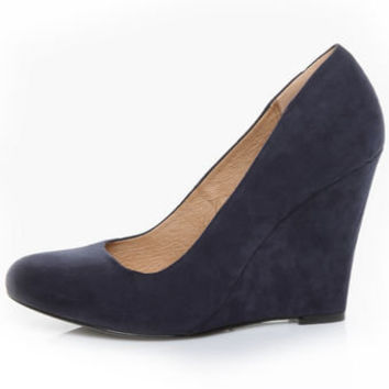 Chelsea Crew Colette Navy Micro Suede Wedges