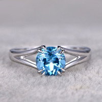 Blue Topaz White Gold Ring 7mm Round December Birthstone Bridal Ring Solitaire Claw Prongs Band 14k/18k