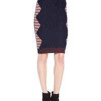 Winged Button-Down Shirt & Cable-Knit Intarsia Pencil Skirt