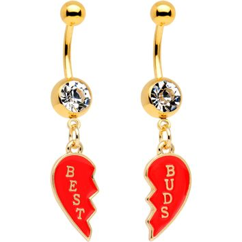 Clear Gem Best Buds Heart Dangle Belly Ring Set of 2