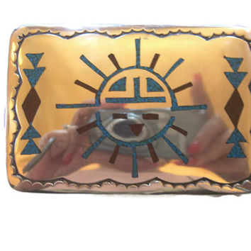 SILVER BELT BUCKLE, Men's.  Native Styled, Signed Harvey Begay, Sterling Silver Belt Buckle Turquoise Coral Inlay, Free Shipping