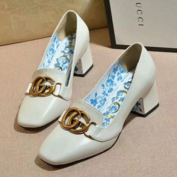 GUCCI Flower Women Fashion High Heels Shoes