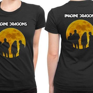CREYH9S Imagine Dragons Moon Art Colorize 2 Sided Womens T Shirt