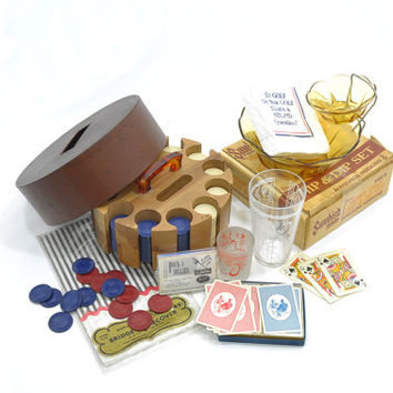 Instant Vintage Game Night • 1950s Poker Party Supplies • Vintage Poker Set • Vintage Poker Party Collection • Vintage Party In A Box
