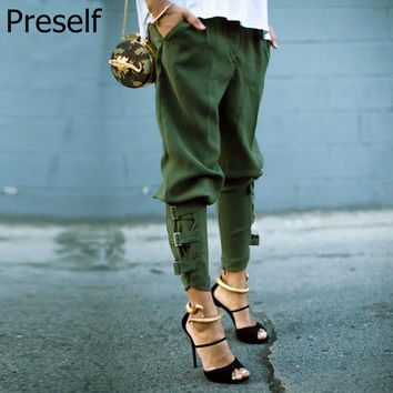Preself Fall Casual Plus Size Women Army Green Pant Woman Design Fashion High Quality Celeb Unique Leisure Trousers Harem Pants