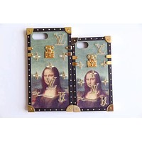 LV 2017 Hot Sale!Trending iPhone X iPhone 8 iPhone 7 iPhone 7 plus - Stylish Cute Mona Lisa Embroidery Pattern Print On Sale Hot Deal Matte Couple Phone Case For iphone 6 6s 6plus 6s plus I-AL-BSYHD