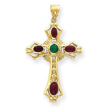 14k Ruby & Emerald Cabochon Cross Pendant FB597