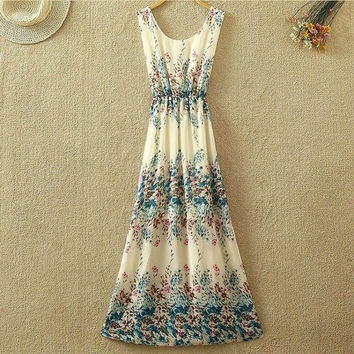 Sexy Chiffon Dress Women Beach Dress Summer Ladies Long Dresses Print Vintage Party Bohemian Dress SV009736|27701 = 1928488068