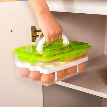 24 Grid Egg Box Food Container Organizer Convenient Storage Boxes Double Layer Durable Multifunctional Crisper Kitchen Products