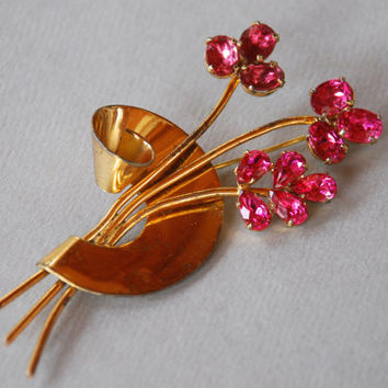 Vintage CORO Sterling Rhinestone Brooch Hot Pink Flower Spray Gold Vermeil Over Sterling Silver 1940's // Vintage Designer Costume Jewelry